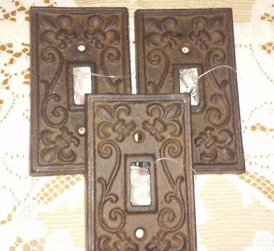 SET OF 3~ Cast Iron French Fleur De Lis Electric Light Switch Plate Cover Single