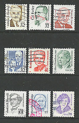 Scott #2933/43 Used Set of 9, 1995-99 Great Americans