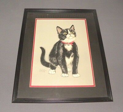 "Vintage Gladys Emerson Cook Black & White Cat Picture Wood Framed 20"" x 16"""
