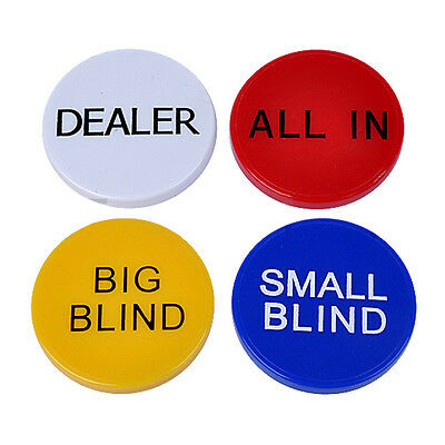 "4pcs/set Texas holdem Buttons,Poker buttons,Texas hold'em buttons,""ALL IN""button"