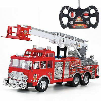"20"" Jumbo R/C Rescue Fire Engine Truck Remote Control Toy by Liberty Imports XTS"