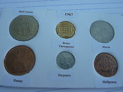 1967 Full Set of 6 Coins in Display Card - Ideal 50th Birthday Present