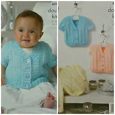 KNITTING PATTERN Baby V-Neck Cable Cardigans and Waistcoat DK King Cole 4394