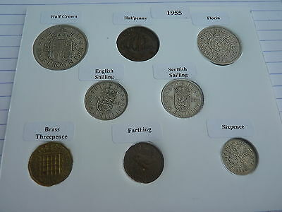 1955 Full Set of 8 Coins in Display Card - Ideal Birthday Present