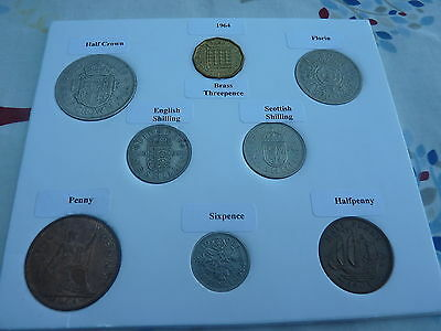 1964 Full Set of 8 Coins in Display Card- Ideal Birthday Present