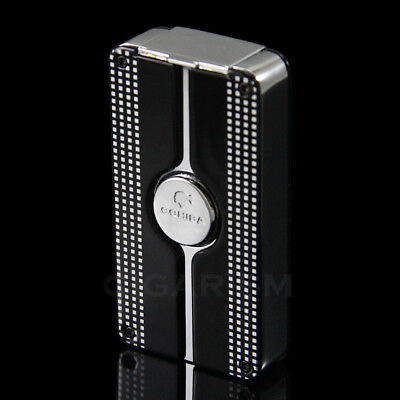 COHIBA Black Classic Style 3 Torch Jet Flame Cigar Lighter W/ Punch