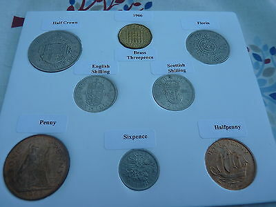 1966 Full Set of 8 Coins in Display Card- Ideal 50th Birthday Present
