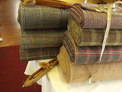 Craft Pieces of Quality Woven 100% Wool  Check Tweed Vintage Fabric