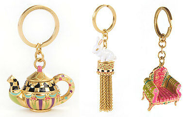MacKenzie-Childs Key Chain/Key Ring-Choice Of Rabbit Tassel /Diva Chair/ Teapot