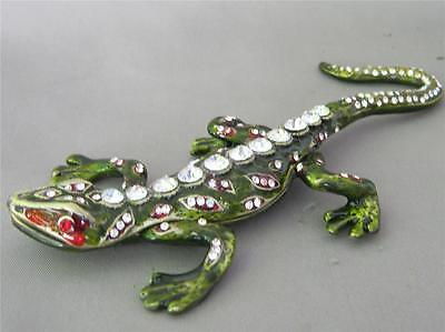 Beautiful Crystal Adorned Cloisonne Trinket Box SALAMANDER LIZZARD