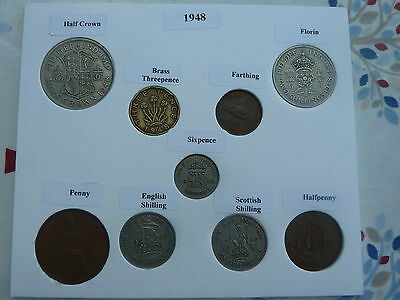 1948 Full Set of 9 Coins in Display Card - Ideal Birthday Present
