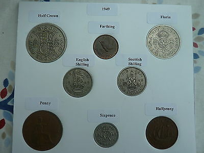 1949 Set of 8 Coins in Display Card - Ideal Birthday Present - Excl Rare 3d