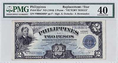 PHILIPPINES P95a ND 1944 2 PESO/STAR NOTE XF 40