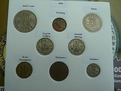 1950 Set of 8 Coins in Display Card - Ideal Birthday Present - Excl Rare Penny