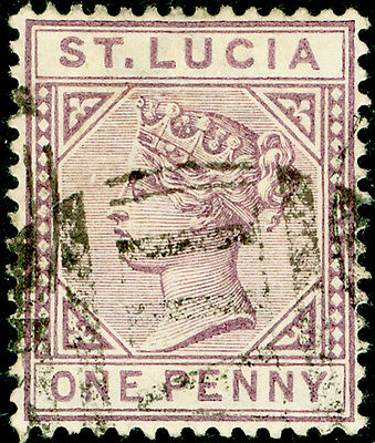ST. LUCIA SG44, 1d dull mauve, USED. DIE II.