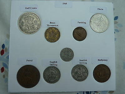 1945 Full Set of 9 Coins in Display Card - Ideal Birthday Present - Half Silver