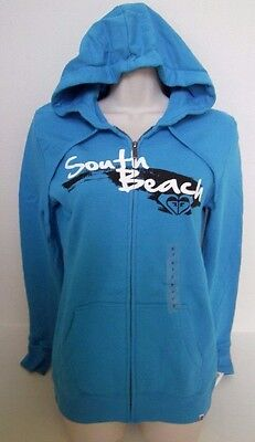 ROXY Women's Turquoise SOUTH BEACH Hoodie Full Zip Sweat Jacket Size XS,S,M