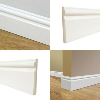 95mm Plastic Skirting Board - Ogee / Torus Architrave Trim - White Gloss - 1m