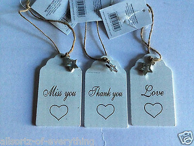 Wooden slogan shabby Chic Hanging Sign Plaques 9 x5cm Love Miss you Thank You