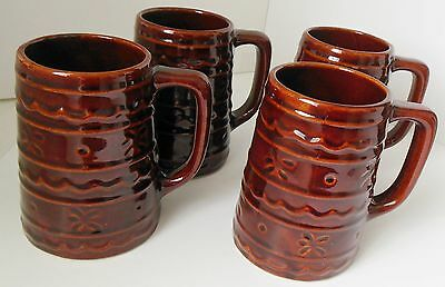 Vintage Marcrest Daisy Dot Brown Stein Mug Western Monmouth Pottery USA Set of 4