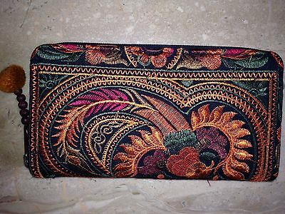 Disney World Upcycled A Mano Fair Trade Wallet/Clutch Rust Embroidered