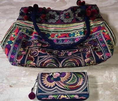 Disney Upcycled A Mano Fair Trade Large Tote & Wallet/Clutch Embroidered 2 Set