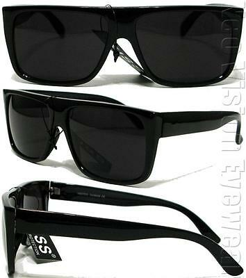 OG LOC Style Gangster Flat Top Square Sunglasses Dark Smoke Lens Black K60SD