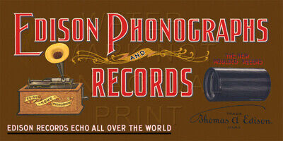 """24/"""" X 12/"""" Edison Phonographs and Records Canvas Banner Talking Machine"""