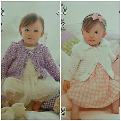 KNITTING PATTERN Baby Long Sleeve Cardigan Round Neck or Collar DK KingCole 3995