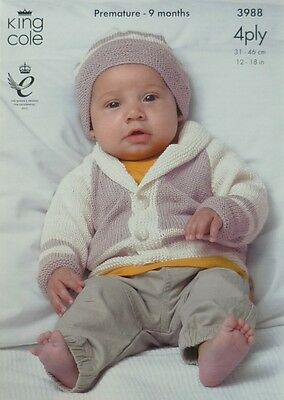 KNITTING PATTERN Baby Long Sleeve 2 colour Jacket & Hat 4ply King Cole 3988