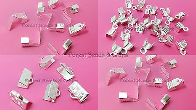 Strong Quality SILVER PLATED Folding Crimps Cord Ends Ribbon Suede 4mm 6mm 10mm