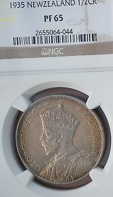 1935 New Zealand Half Crown Silver Proof Coin NGC PF65  2nd Top Grade 364 Minted