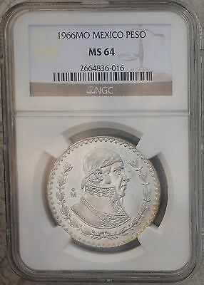 1966 Mexico Peso KM# 459  Silver Coin Prooflike White Luster NGC MS64
