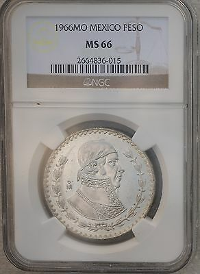 1966 Mexico Peso KM# 459  Silver Coin Prooflike White Luster NGC MS66
