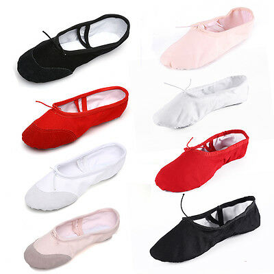 Children Adult Canvas Split Sole Ballet Dance Shoes Pointe Slippers Size 24-45