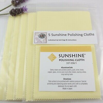 5 Sunshine Polishing Cloths Jewelry Cleaner Silver Gold Brass Copper Jewellery