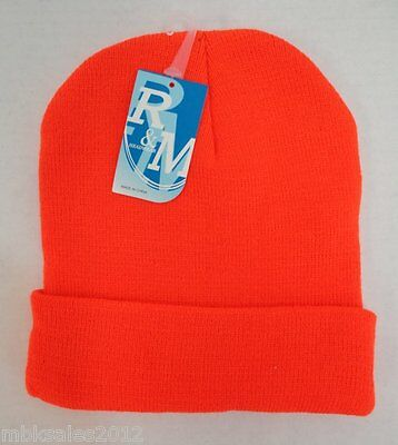 Lot of 12 HUNTER ORANGE Beanie Hats WHOLESALE DOZEN LOT Winter Knit Hat Ski Cap