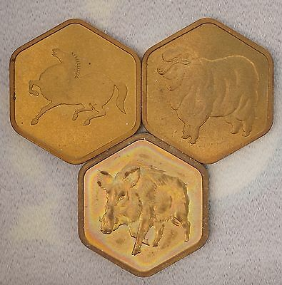 Japan 1978-79 -1983 Tokens Ex. Mint & Proof Sets Year of Horse , Sheep , & Pig