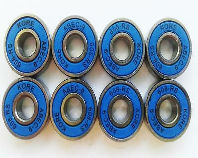 8 Pack Kore Abec 9 Bearings 608-Rs 4 Colours  - Skateboard Scooter Inline