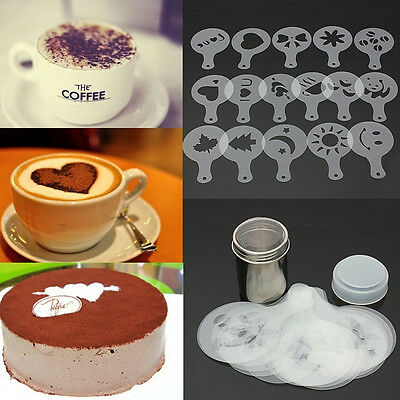 Stainless Steel Chocolate Shaker Duster & 16x Cappuccino Coffee Barista Stencils