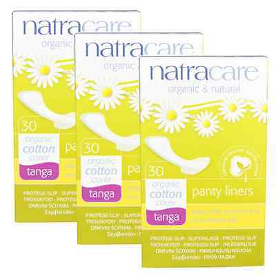 Triple Pack Natracare TANGA Panty Liners Organic Cotton, Chlorine Free.