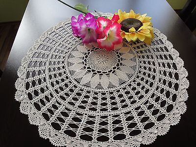 Unique Vintage Handmade Cotton Crochet Ecru Round Tablecloth