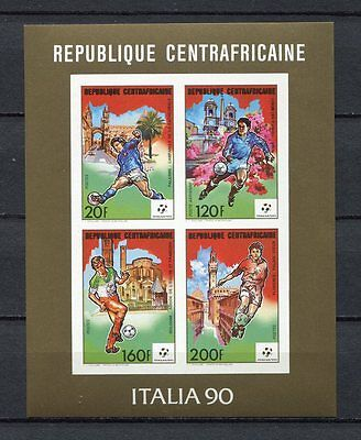 s6225) CENTRAFRICAINE REP 1990 MNH** World Cup Football'90 -CM Calcio MS IMPERF