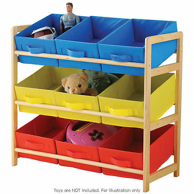 Kids 3 Tier Toys Books Storage Unit Organiser with 9 units New