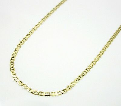 "10K Solid Yellow Gold Mariner Link Chain 20"" inch 1.5mm wide"