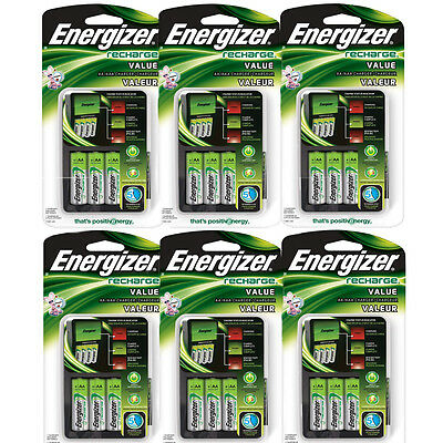 6 Pack Energizer Value Charger with AA Rechargeable NiMH Batteries CHVCMWB-4