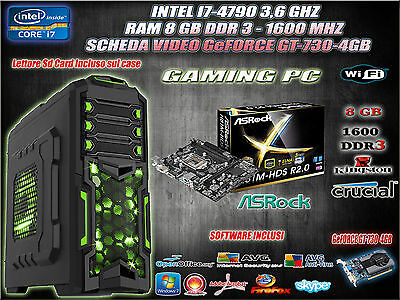 Pc Computer Intel I7 4790 3,6Ghz 8Gb Desktop Assemblato Gaming Video Gt-730 4Gb
