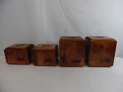 Vintage Set of 4 Baribo Canada Wood Kitchen Canisters Tea Coffe Sugar Flour