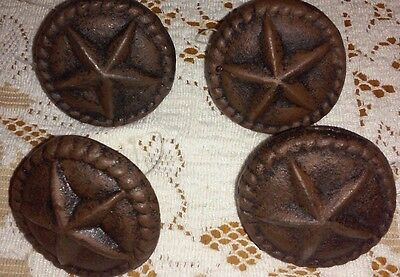 Set Of 4-Western Style Cast Iron Drawer Pull With Star-Screw Included