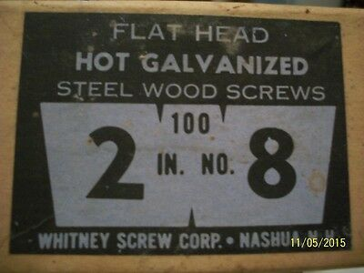 "Box Of 100, 2"" - No.8 Flat Head Galv. Wood Screws- Old"